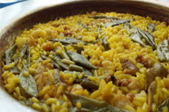 Paella, a typical Spanish dish