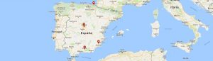 Map of Spanish Express schools in Spain