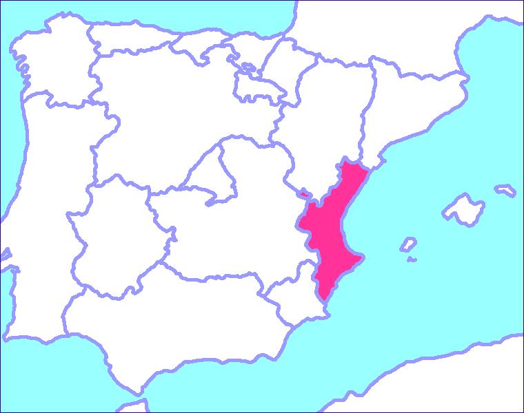 Valencia's location in Spain