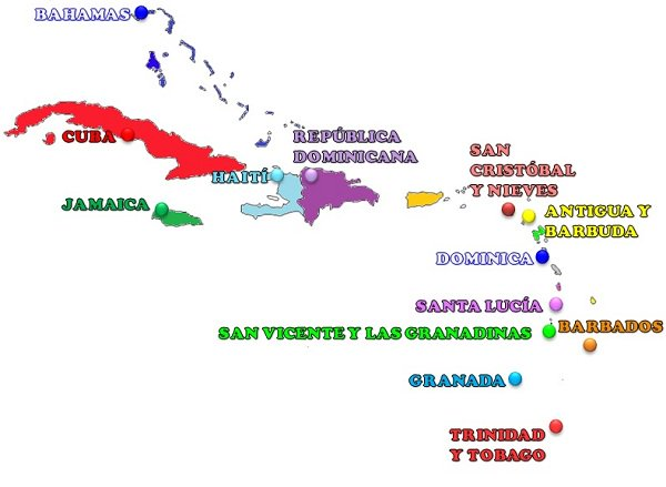 the Caribbean map