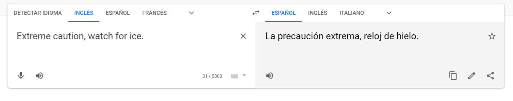traducción erronea en Google Translate