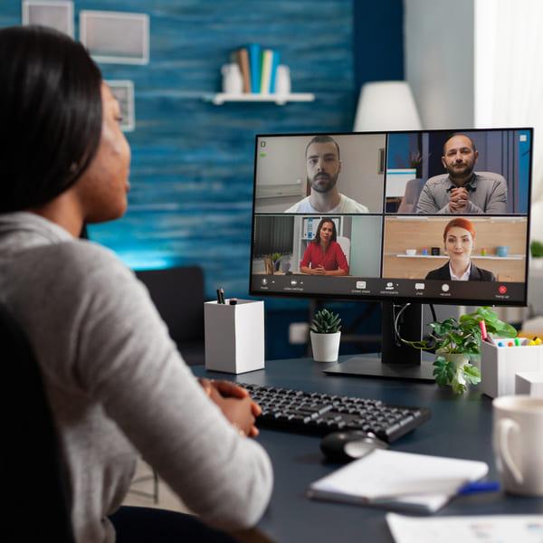 woman attending work online